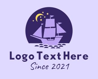 Voyage - Galleon Ocean Night logo design