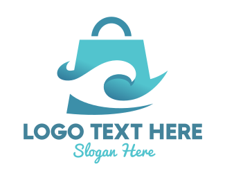 Shopping Bag - Wave Bag logo design