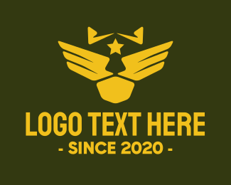 Infantry - Military Pilot Golden Wings logo design