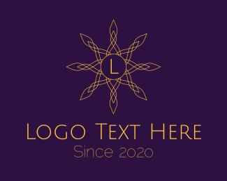 Jewelery Shop - Golden Elegant Flower Lettermark logo design