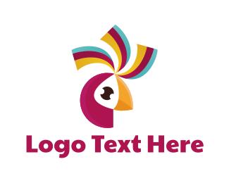 Parrot - Pink Parrot Bird logo design