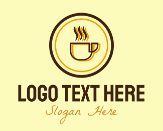 Brunch - Hot Coffee Mug Circle  logo design