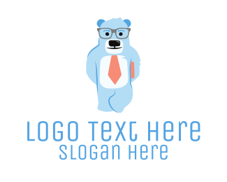 Teddy - Nerdy Bear logo design