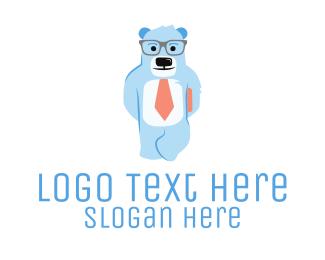 Teddy - Nerdy Bear logo design