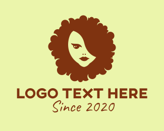 Hair Salon - Brown Afro Hair Woman logo design
