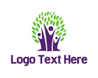 Purple Leaf - Purple Tree logo design