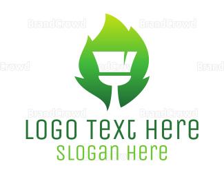Cleaner - Gradient Brush Leaf logo design