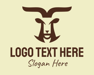 Wild Goat - Brown Wild Mountain Goat logo design