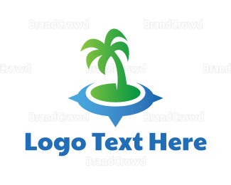 Satellite - Coconut Tree Compass logo design