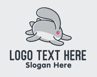 Rabbit Ears - Running Bunny Rabbit  logo design