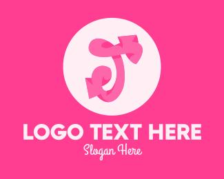 Calligraphy - Pink Funky Letter T logo design