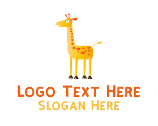 Cartoon - Cute Cartoon Giraffe logo design