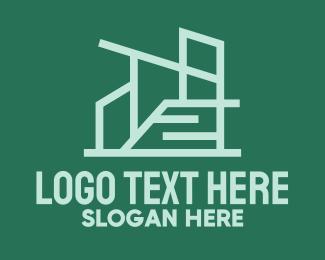 Blue Green - Geometric Modern Building  logo design