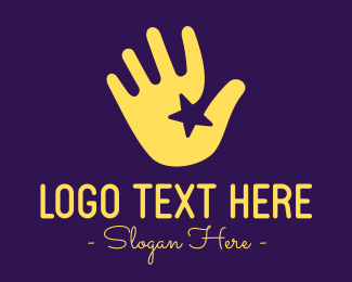 Waving - Yellow Hand Star logo design