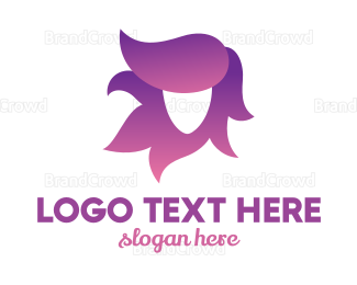 Hair - Violet Hair Woman logo design