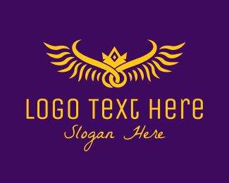 Heraldry - Golden Royal Wings logo design