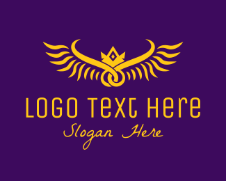 High End - Golden Royal Wings logo design