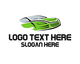 Sports Car - Green Car logo design