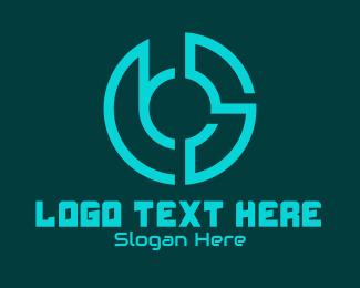 Outsource - Round Abstract Data Emblem logo design