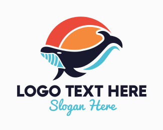 Colorful Tropical Whale Logo Maker