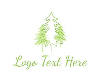 Mountain - Three Green Pines logo design