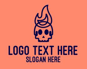 Punk - Blue Flame Skull logo design