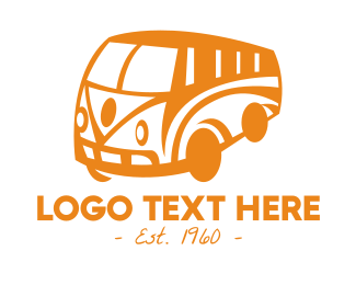 Trailer Home - Old Retro Van logo design