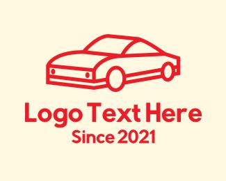 Luxury Car - Red Minimalist Sports Car logo design