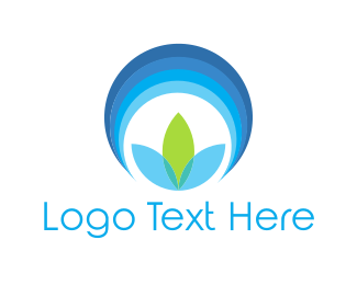 Lotus - Blue Flower Circle logo design