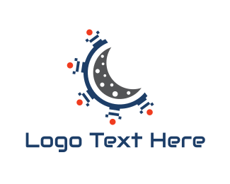 Red Planet - Moon Spaceship logo design