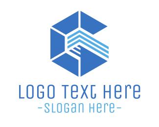 Abstract Blue Hexagon Logo