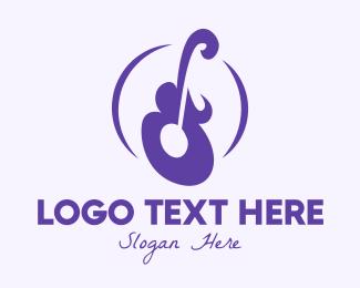 Ukelele - Violet Guitar Instrument logo design