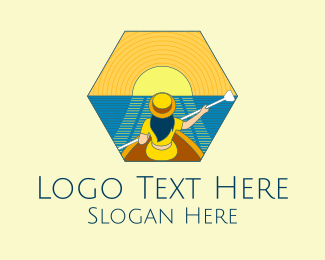 Recreational - Sunset Boat Lady  logo design