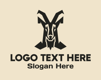 Antelope - Mountain Goat Horns logo design