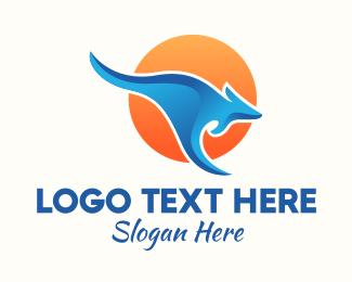 Kangaroo - Australian Blue Kangaroo logo design