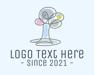 Apple Tree - Ecology Tree Monoline logo design