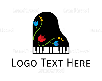 Music Equipment - Floral Piano logo design