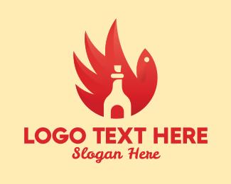 Hot - Chicken Wing Hot Sauce logo design