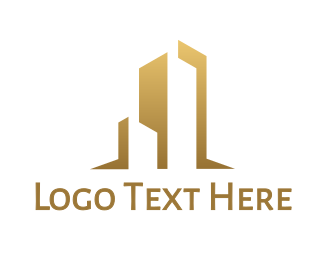 Residences - Gold Abstract Building logo design
