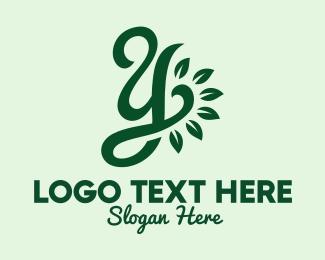 Leafy - Green Leafy Letter Y  logo design
