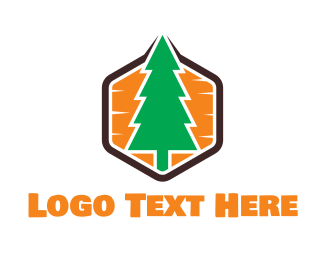 California - Hexagon Pine logo design