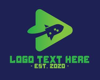 Rocketship - Green Rocket Media Player  logo design