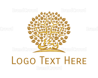 Fortune - Gold Leafy Tree logo design