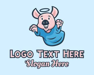 Wild Boar - Holy Angel Pig Piglet logo design