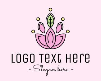 Makeup Blogger - Minimalist Lotus Flower logo design