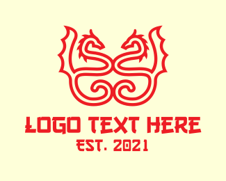 Legend - Red Dragon Line Art logo design