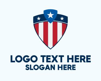 University - Stars & Stripes Shield logo design