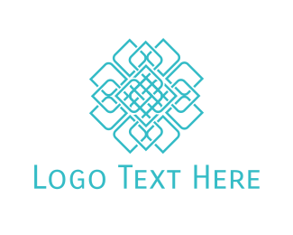 Interior Decoration - Geometric Blue Flower logo design