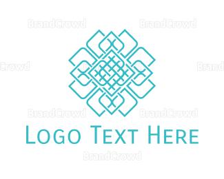 India - Geometric Blue Flower logo design