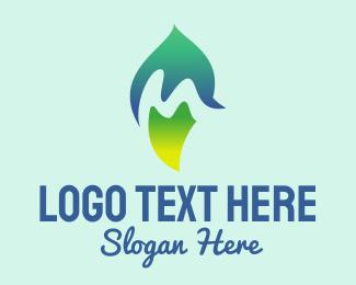 Grower - Natural Letter M Leaf logo design